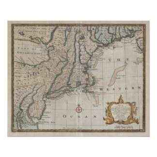 Vintage Map of The New England Coast (1747) Poster
