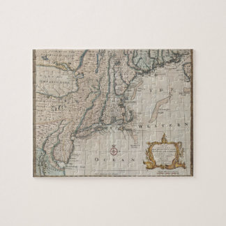 Vintage Map of The New England Coast (1747) Jigsaw Puzzle