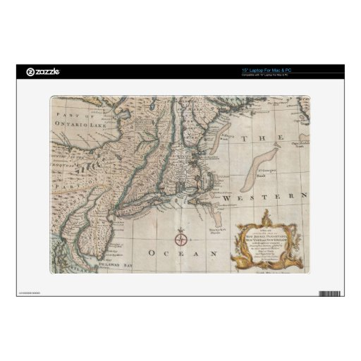 """Vintage Map of The New England Coast (1747) Skin For 15"""" Laptop"""