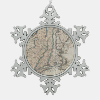 Vintage Map of The New England Coast (1747) Snowflake Pewter Christmas Ornament