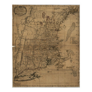 Vintage Map of The New England Coast (1771) Poster