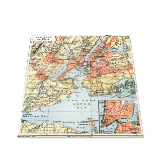 Vintage Map of The New York City Vicinity (1890) Canvas Print