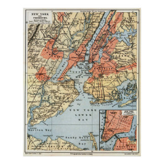 Vintage Map of The New York City Vicinity  (1890) Poster