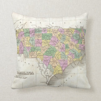 Vintage Map of The North Carolina (1827) Throw Pillow