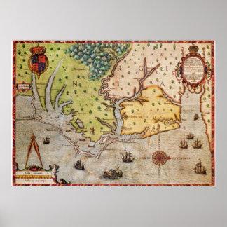 Vintage Map of The North Carolina Coast (1591) Poster