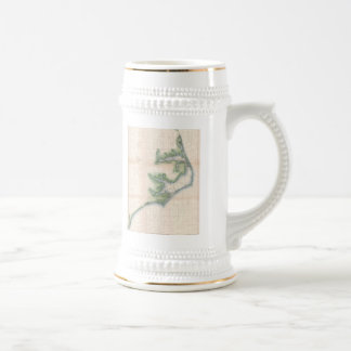 Vintage Map of The North Carolina Coast (1875) Beer Stein