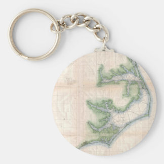Vintage Map of The North Carolina Coast (1875) Keychain