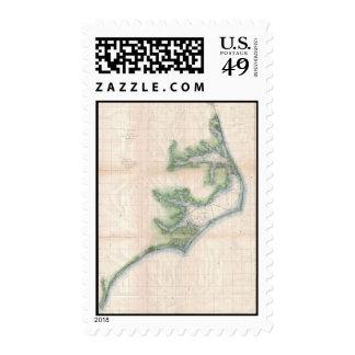 Vintage Map of The North Carolina Coast (1875) Postage Stamp