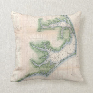 Vintage Map of The North Carolina Coast (1875) Throw Pillow