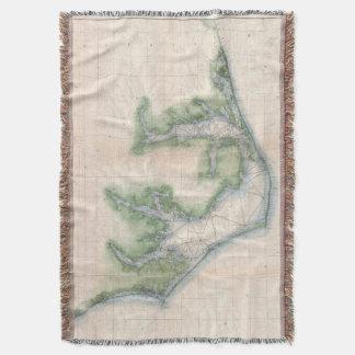 Vintage Map of The North Carolina Coast (1875) Throw