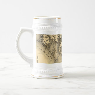 Vintage Map of The North Carolina Coast (1887) Beer Stein