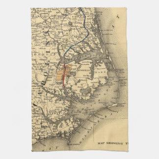 Vintage Map of The North Carolina Coast (1887) Kitchen Towel