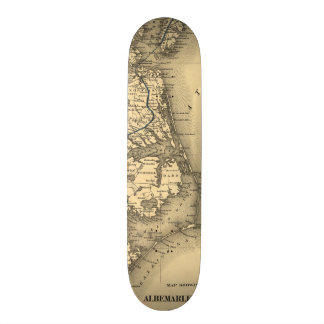 Vintage Map of The North Carolina Coast (1887) Skateboard Deck