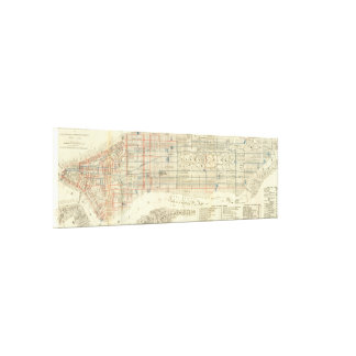 Vintage Map of The NYC Railways (1899) Canvas Print