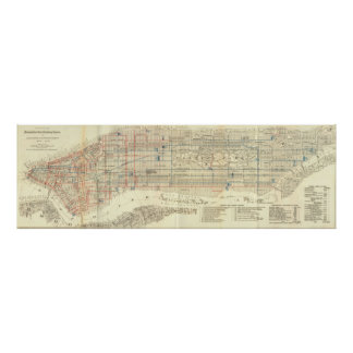 Vintage Map of The NYC Railways (1899) Poster