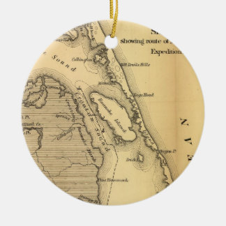Vintage Map of The Outer Banks (1862) Ceramic Ornament