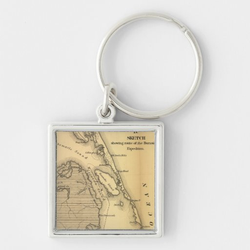 Vintage Map of The Outer Banks (1862) Keychain