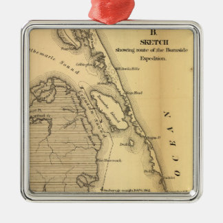 Vintage Map of The Outer Banks (1862) Metal Ornament