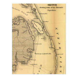 Vintage Map of The Outer Banks (1862) Postcards