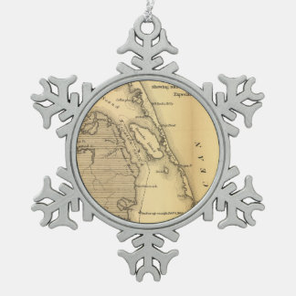 Vintage Map of The Outer Banks (1862) Snowflake Pewter Christmas Ornament