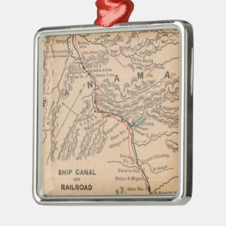Vintage Map of The Panama Canal (1885) Metal Ornament