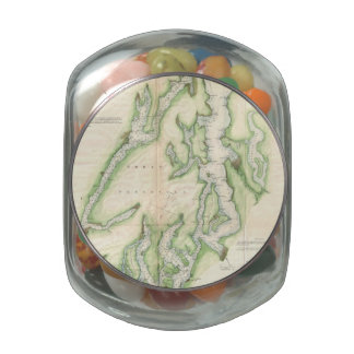 Vintage Map of The Puget Sound (1867) Glass Candy Jar