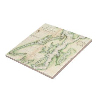 Vintage Map of The Puget Sound (1867) Ceramic Tile