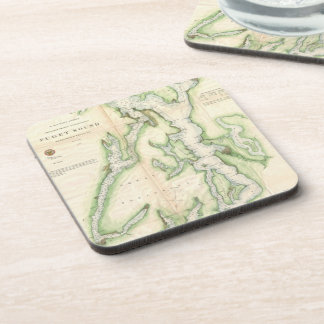 Vintage Map of The Puget Sound (1867) Drink Coasters