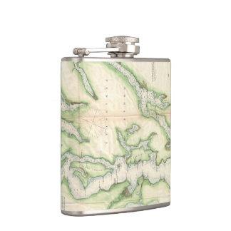 Vintage Map of The Puget Sound (1867) Flask