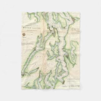 Vintage Map of The Puget Sound (1867) Fleece Blanket
