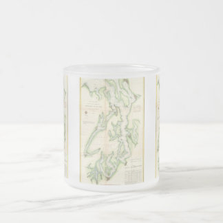 Vintage Map of The Puget Sound (1867) Frosted Glass Coffee Mug