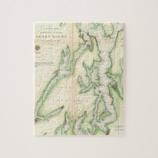 Vintage Map of The Puget Sound (1867) Jigsaw Puzzle