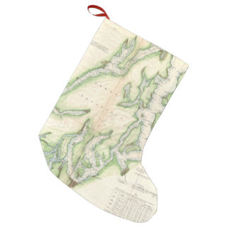 Vintage Map of The Puget Sound (1867) Small Christmas Stocking