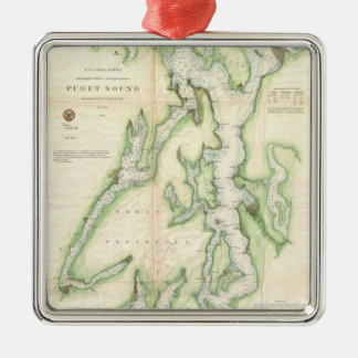 Vintage Map of The Puget Sound (1867) Square Metal Christmas Ornament