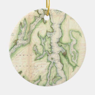 Vintage Map of The Puget Sound (1867) Double-Sided Ceramic Round Christmas Ornament