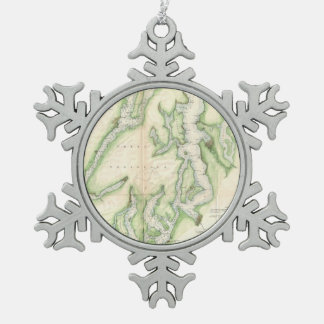 Vintage Map of The Puget Sound (1867) Snowflake Pewter Christmas Ornament
