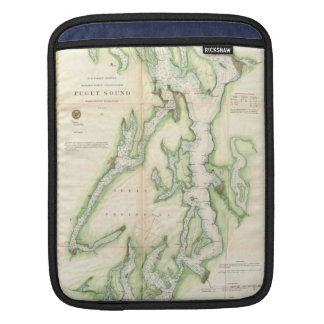 Vintage Map of The Puget Sound (1867) Sleeve For iPads