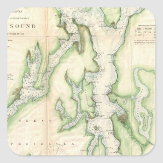 Vintage Map of The Puget Sound (1867) Square Sticker