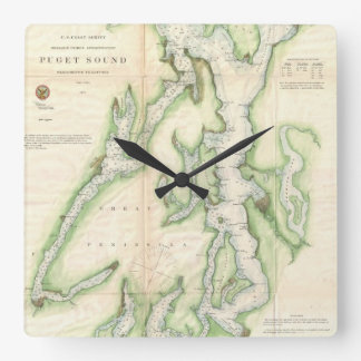 Vintage Map of The Puget Sound (1867) Square Wall Clock