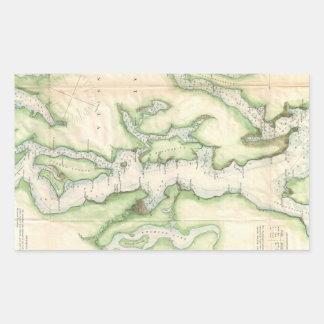Vintage Map of The Puget Sound (1867) Rectangular Sticker