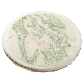 Vintage Map of The Puget Sound (1867) Sugar Cookie