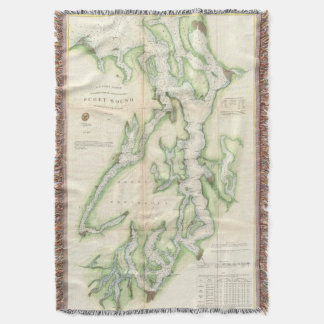 Vintage Map of The Puget Sound (1867) Throw Blanket