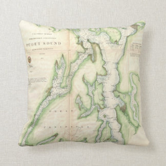 Vintage Map of The Puget Sound (1867) Throw Pillow