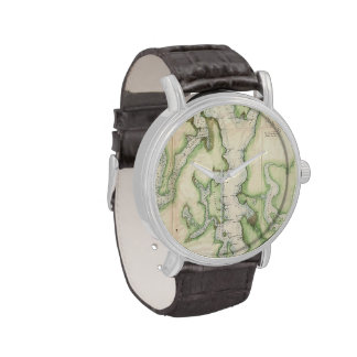 Vintage Map of The Puget Sound (1867) Wrist Watches