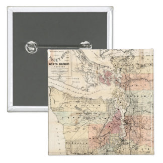 Vintage Map of The Puget Sound (1891) 2 Inch Square Button