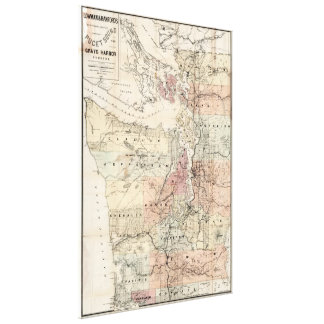 Vintage Map of The Puget Sound (1891) Canvas Print