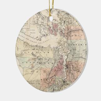 Vintage Map of The Puget Sound (1891) Ceramic Ornament