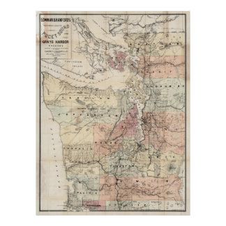 Vintage Map of The Puget Sound (1891) Poster