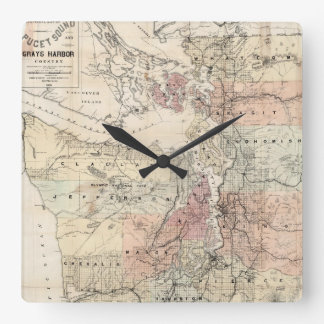 Vintage Map of The Puget Sound (1891) Square Wall Clock
