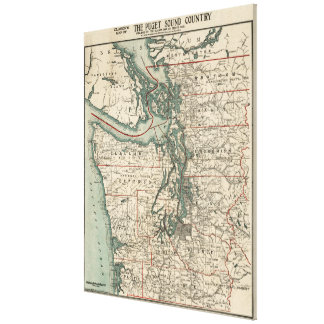 Vintage Map of The Puget Sound (1910) Canvas Print